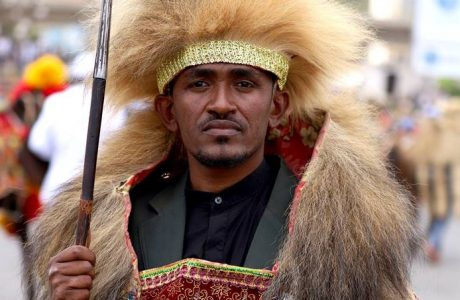 FILE PHOTO:  Ethiopian musician Haacaaluu Hundeessaa poses while dressed in a traditional costume during the 123rd anniversary celebration of the battle of Adwa in Addis Ababa